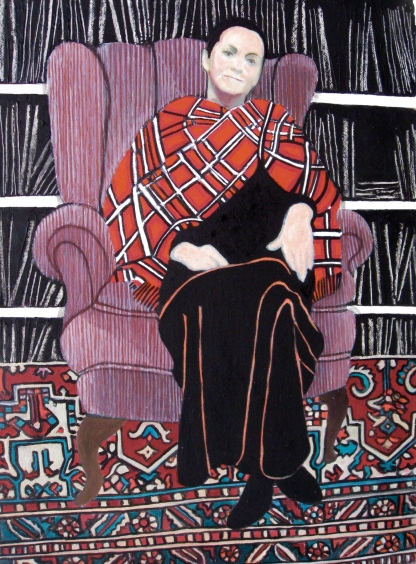 Lillian Delevoryas In The Library Plush Upholstered Chair In Red Tartan