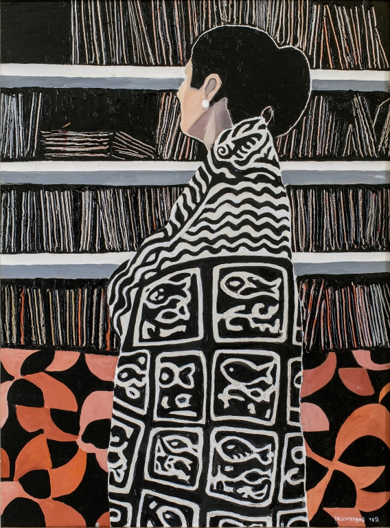 Lillian Delevoryas In The Library Mel In African Shawl
