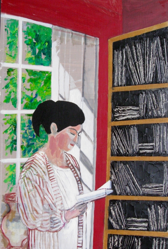 Lillian Delevoryas In The Library Study For Mel Reading